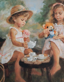Lydia & Jessica 32x36 The Tea Party